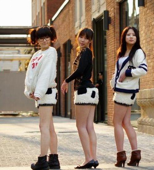 Girls Wearing Panda Shorts